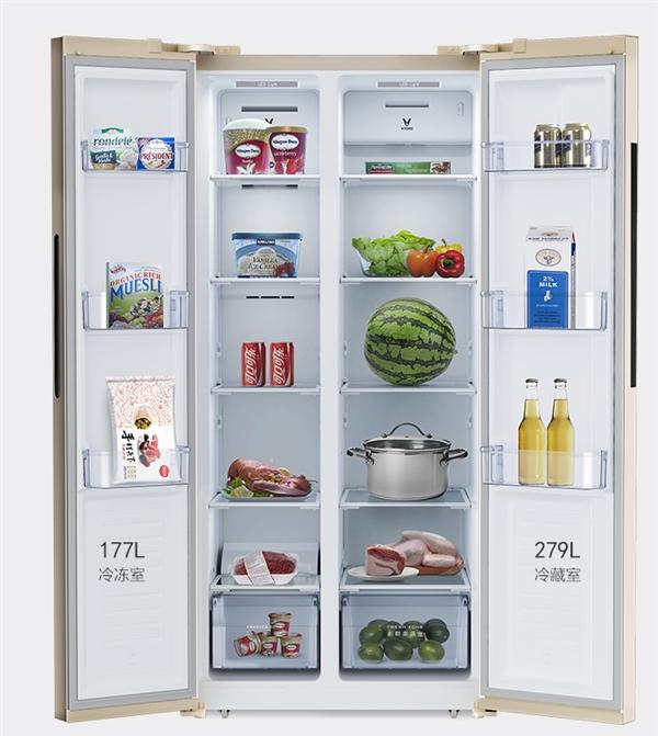 1999元!云米智能对开门冰箱首发:456L风冷无霜