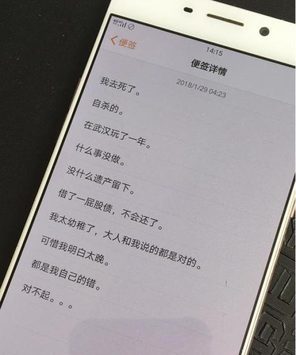 """罗正宇曾被武汉理工大学评为""""三好研究生""""。今年1月29日,他在手机里留下了遗言。"""