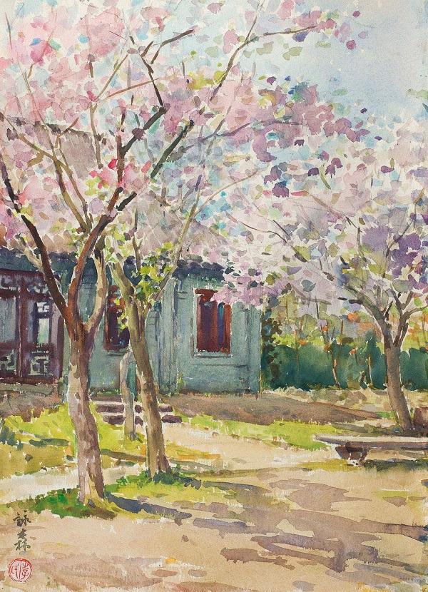 李詠森 《上海中山公园樱花》 水彩 纸本 1960年代