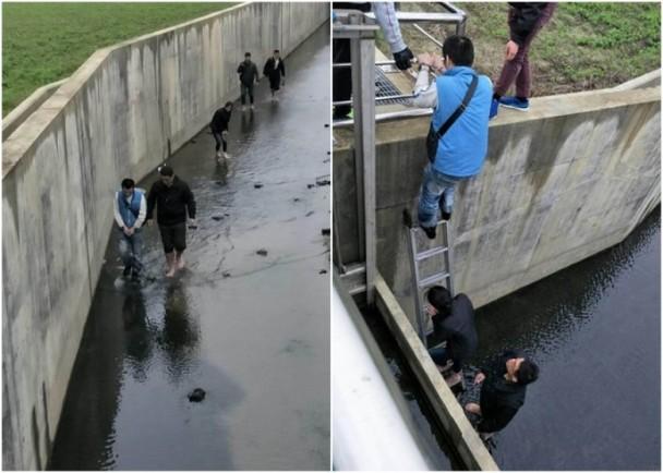 """苗栗""""宪兵队""""于下水道将两人查获。(图片来源:香港东网)"""