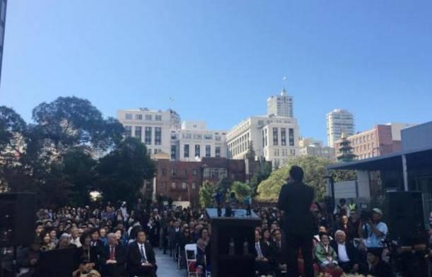 """▲图为美国旧金山市举行的""""慰安妇""""雕像揭幕仪式,图片来自中新网"""