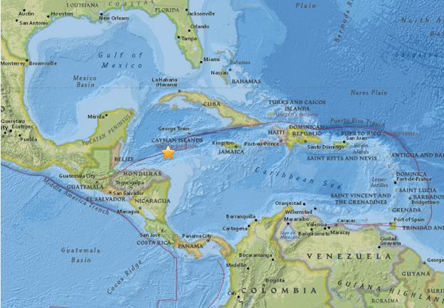 洪都拉斯以北附近发生7.6级地震 已引发海啸预警