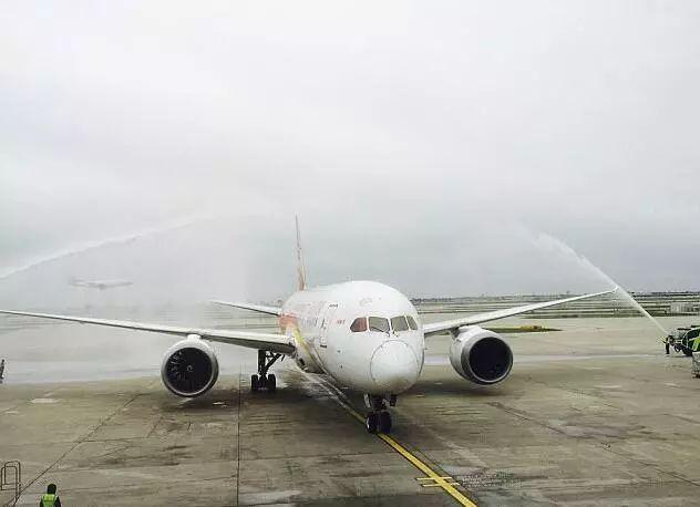 ▲在美国芝加哥奥黑尔国际机场降落后,飞机受到喷水欢迎。