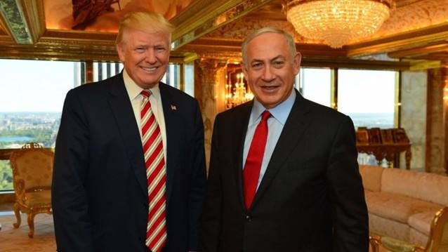 资料图:美国总统特朗普(左)与以色列总理内塔尼亚胡。