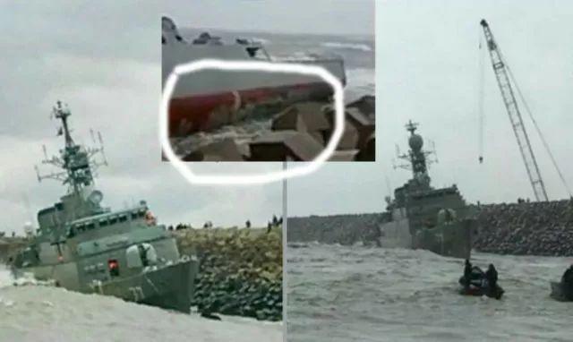 伊朗最大国产军舰被强风吹上岸 撞上防波堤后沉没