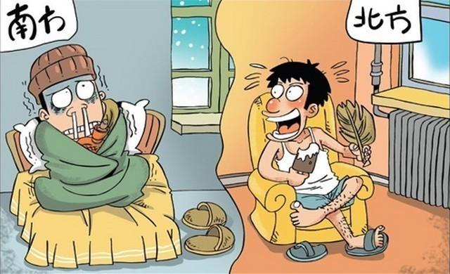 漫画诙谐幽默的反映出冬季南、北方的生活