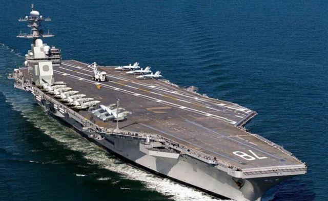 """▲美国""""福特""""号是目前世界上唯一一艘装备电磁弹射技术的航母。"""