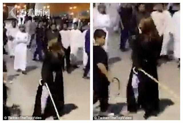 沙特女子未戴头巾被说不得体 怒拿拐杖追打男性