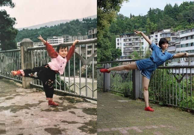 回到20年前同一地点拍照,女孩新旧对比照惹网友感慨:时光走太快图片