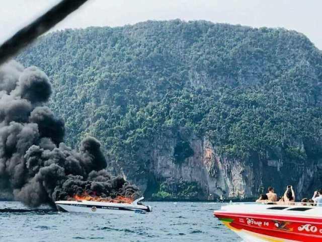 一艘快艇在泰国皮皮岛海域爆炸致5名中国游客重伤