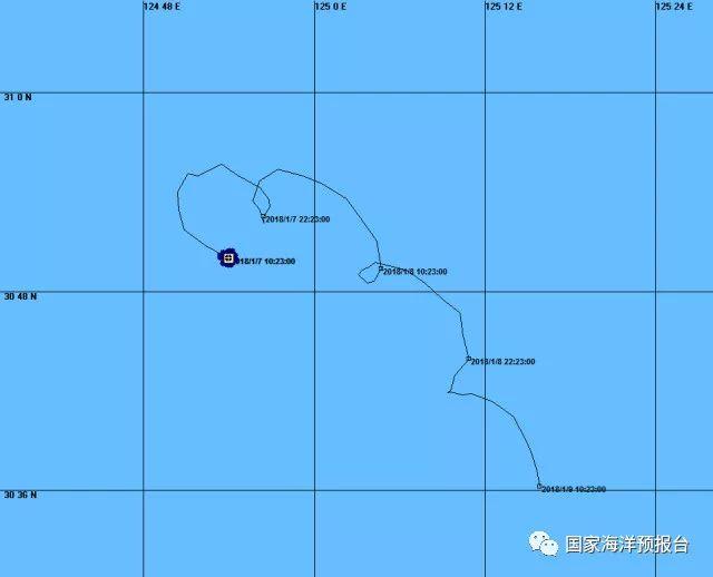 1月7日12时发布的落水人员漂移预测图