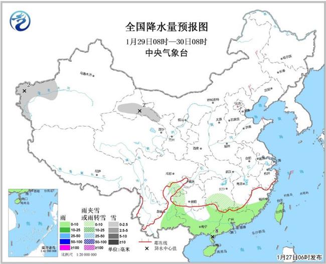 江淮江汉江南北部等地有强降雪27日起多股补充冷空气影响中东部