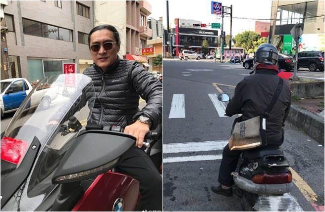 """黄安骑着摩托车跟踪""""台独""""分子(图片来源:黄安微博)"""