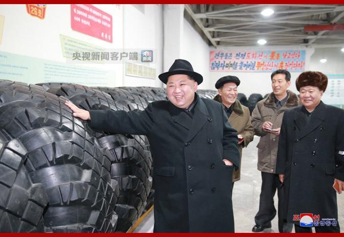 △图为金正恩视察轮胎厂 来自朝中社