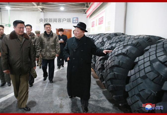 △图为金正恩视察轮胎厂来自朝中社