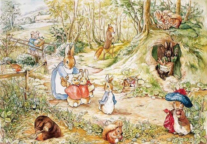 《比得兔的故事》 绘本《比得兔的故事》正式发行后,很快风靡整个英国,几乎每个小孩子都有一本《比得兔》或《小猫汤姆的故事》(《比得兔》系列故事)。《比得兔》之后,波特又陆续出版了《格洛斯特的老裁缝》《小兔本杰明的故事》等绘本,整个系列堪称绘本图书的鼻祖,并享有世界儿童文学中的《圣经》的美誉。在《比得兔》系列故事中,毕翠克丝波特用生动有趣的语言和精美的插画给孩子们创造了一个天马行空的美妙世界。每一个主人公都极具个性:比如调皮又富有冒险精神的比得兔、勤劳又手巧的刺猬夫人、顽皮可爱的小猫汤姆、大智若愚的小猪