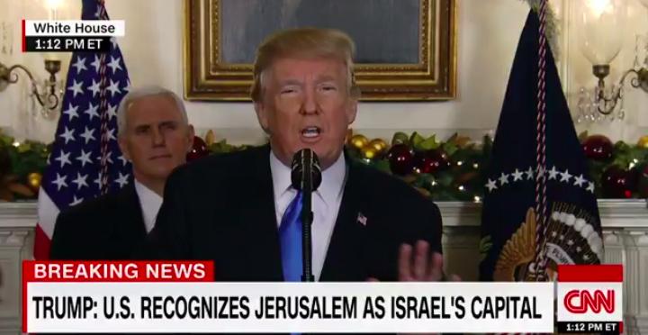 特朗普在白宫宣布美国承认耶路撒冷为以色列首都。