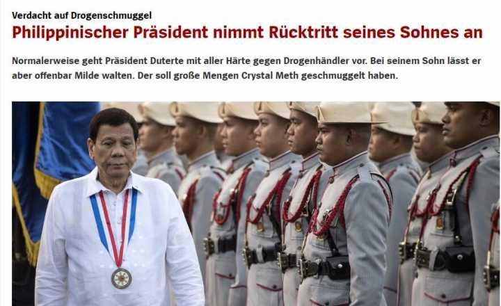 ag网上捕鱼:菲律宾总统杜特尔特接受长子辞呈涉嫌走私冰毒