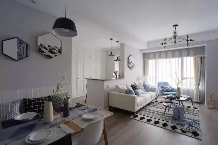 81㎡清新北欧,矮墙沙发墙,装成工作台,实用又漂亮!图片