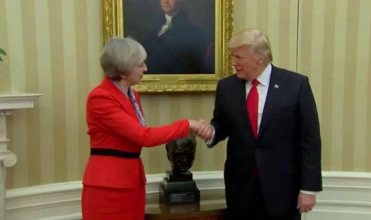 ▲资料图片:美国总统特朗普会见来访的英国首相特雷莎·梅。(CNN)