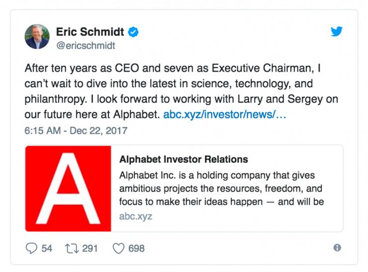 埃里克·施密特辞任Alphabet 执行主席,继续担任董事会董事