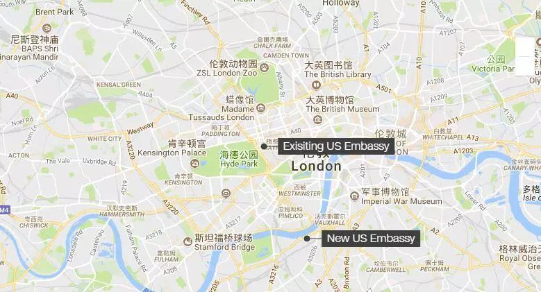 ▲美国新老使馆地理位置示意图(谷歌地图)