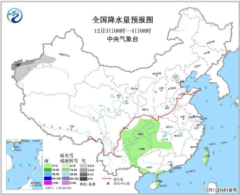 图3 全国降水量预报图(3日08时-4日08时)