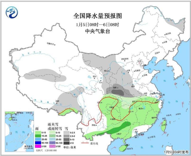 陕西黄淮等地将迎新雪 6日起南方将有较强降水过程