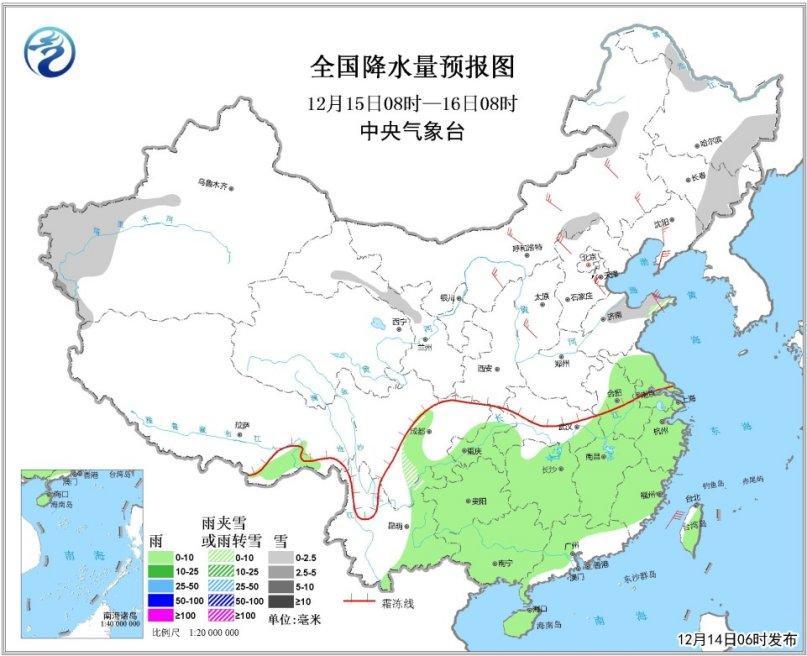图3 全国降水量预报图(15日08时-16日08时)