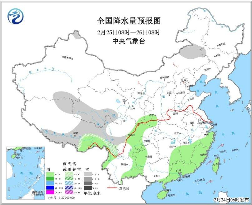 全国降水量预报图(25日08时-26日08时)
