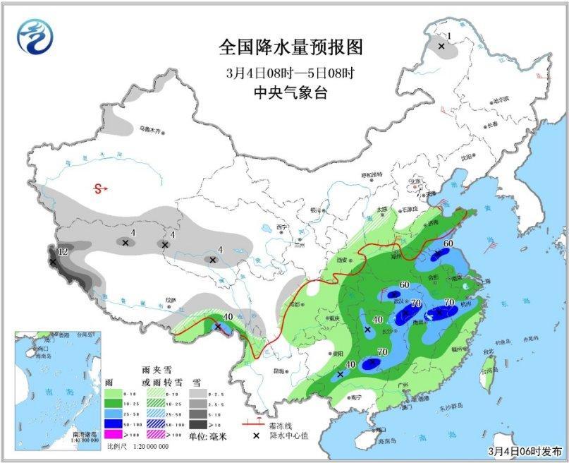 天下降水量预告图(3月4日08时-5日08时)