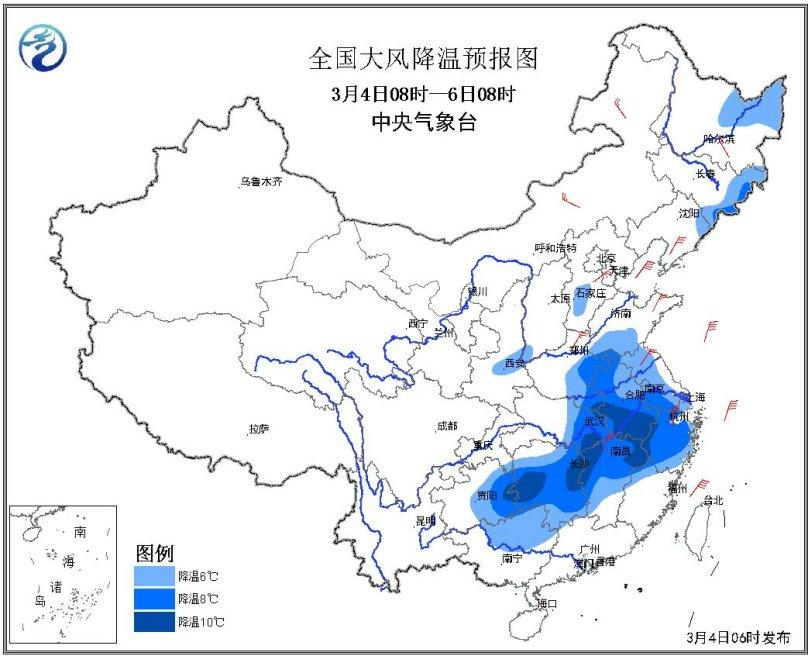 天下微风降温预告图(3月4日08时-6日08时)