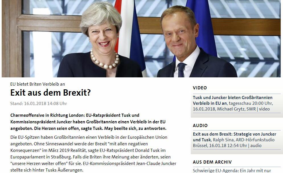 欧盟理事会主席图斯克谈脱欧:我的心依旧为英国敞开