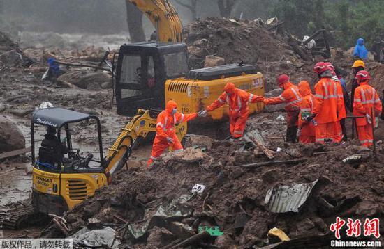 印度喀拉拉邦山体滑坡死亡人数升至43人 仍有多人失踪