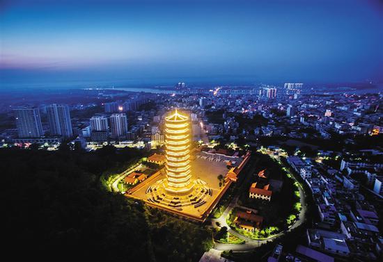鸟瞰金山寺。
