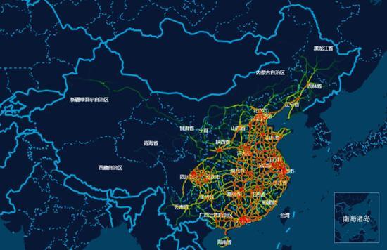 图7 春运期间全国公路网交通量分布预测图