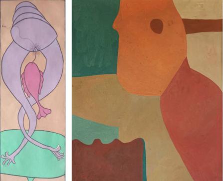 &nbsp左:《Tali KBku di Caplok Ikan Dalam Mimpi》(1999),I Gusti Ayu Kadek Murniasih,图片由艺术家和Gajah艺廊提供;右:《Composition 1964》(1964),Mohamed Hamidi,图片由艺术家和Selma Feriani艺廊提供