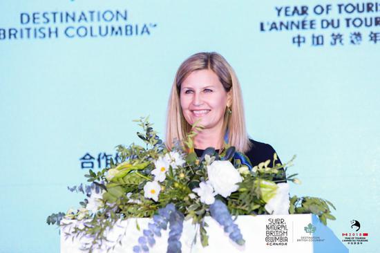 BC省旅游局亚洲市场发展经理李梦(Monica Leeck)女士现场发言
