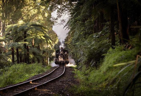 蒸汽小火车在丹顿农山脉穿梭