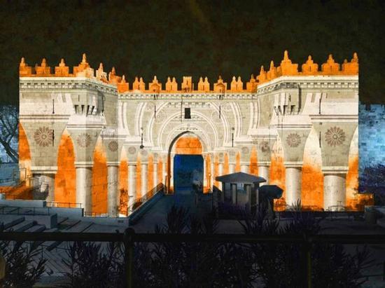 耶路撒冷灯光节期间的大马士革门灯光秀