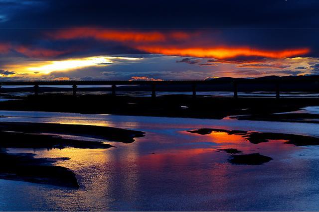 长江源沱沱河落日旷世之美