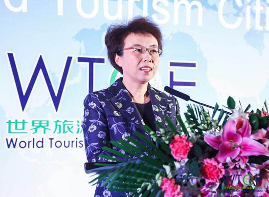 世界旅游城市联合会理事会执行副主席、北京市副市长程红在工作交流会上致辞。