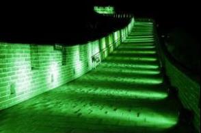 """中国北京八达岭长城将于3月17日晚再次变身为""""绿色""""长城"""