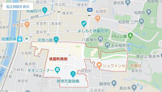 """""""禁拍区域""""如图所示 谷歌地图截图"""