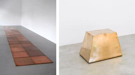 左:《2x18 Cyprigene》(1994),卡尔‧安德烈,图片由艺术家和Alfonso Artiaco艺廊提供;右:《Golden Base》(1987),竹冈雄二,图片由艺术家和Konrad Fischer艺廊提供
