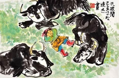(中国画《天地间》,作者:尕松达杰,玉树第一完小六年级)