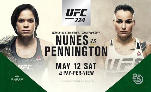 2018年5月13日UFC 224巴西站 – 直播[视频] 努涅斯vs佩宁顿