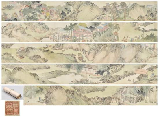 Lot5482谭钟岳先生手绘《清末人文世俗百态》八米长卷一件。