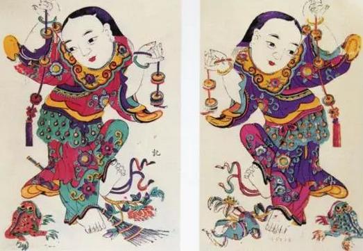 杨家埠木版年画作品《刘海戏金蝉》
