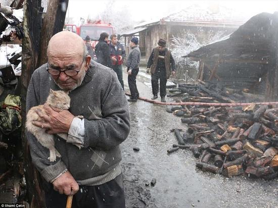 从烧毁家中发现宠物猫 83岁老人喜极而泣